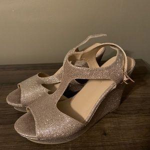 Platform ankle strap wedge sandal